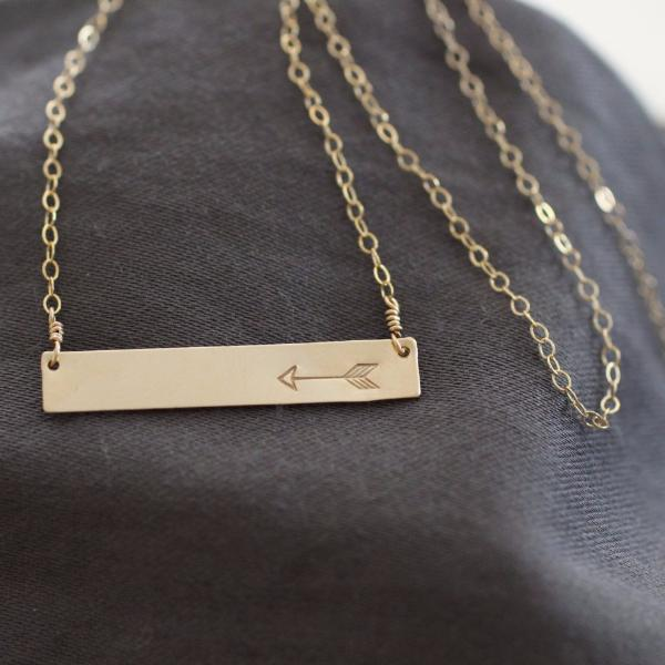 Hammered Metal Bar Necklace with Arrow