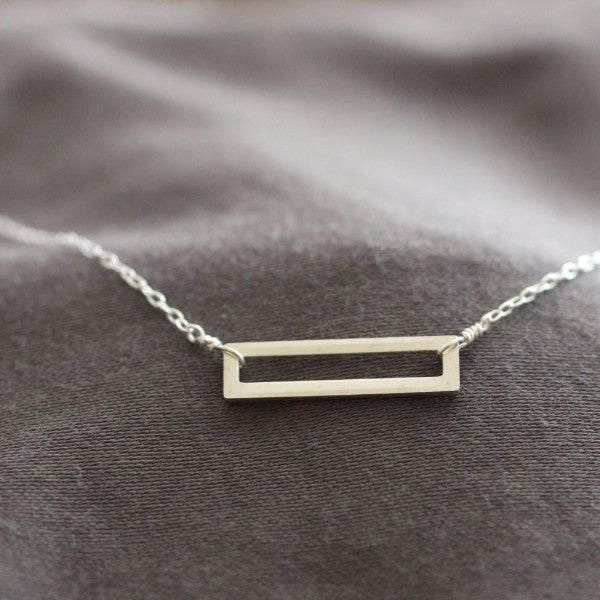Geometric Silver Rectangle Necklace