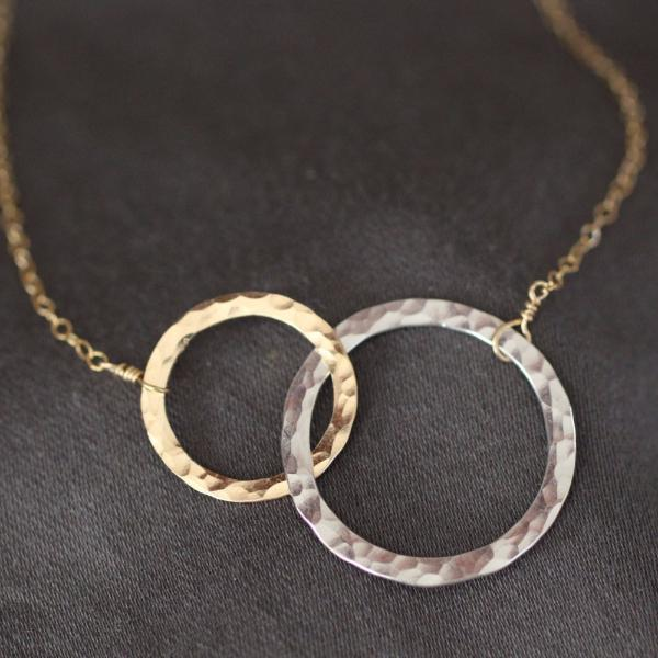Hammered Mixed Metal Interlocking Ring Necklace