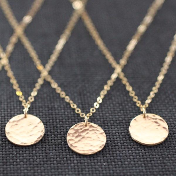 Hammered Gold Circle Necklace