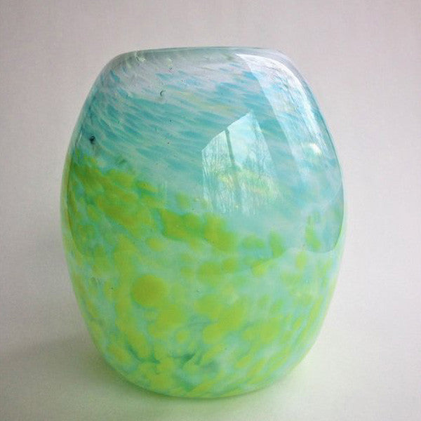 Handblown Glass Vase/Lime Green and Aqua on White