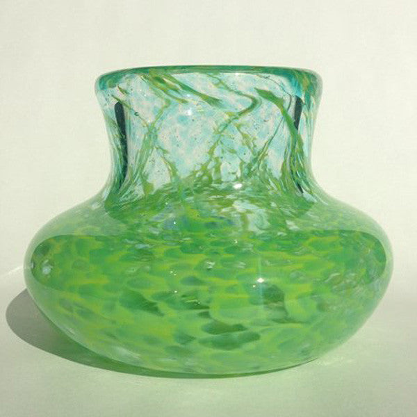Handblown Glass Vase/Lime Green with Aqua