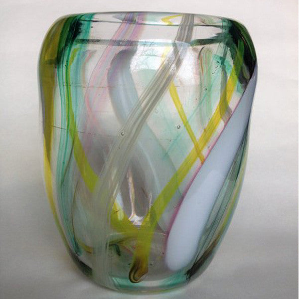 Handblown Glass Vase/Multi-Colored Stripes