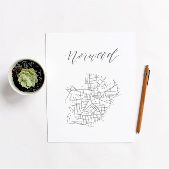 Calligraphy 'Hood Map: Norwood