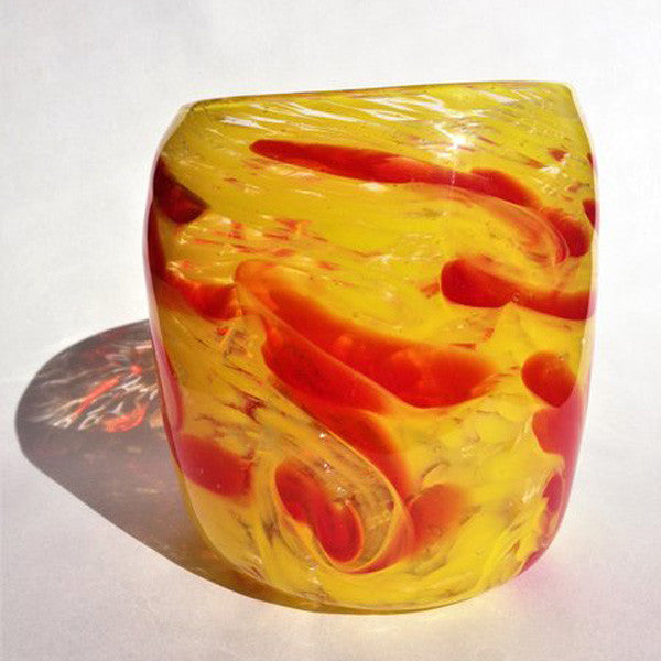 Handblown Glass Vase/Red on Yellow