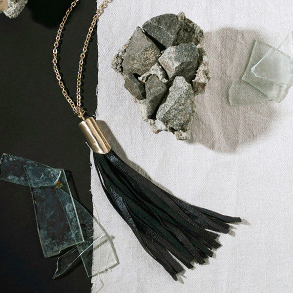 Large Leather Tassel Necklace