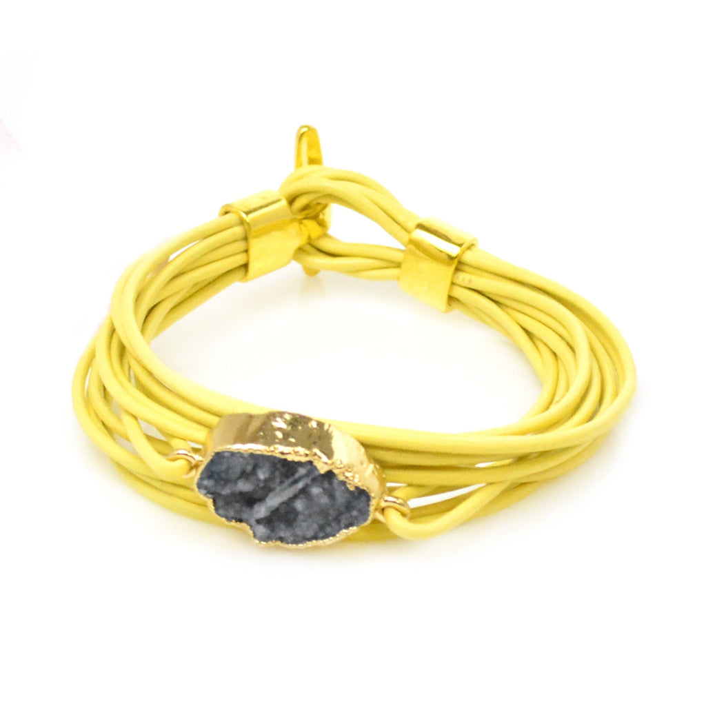 Druzy Leather Bracelet Yellow and Navy