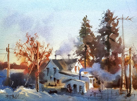 Dan Mondloch COldest Day Of The YEar Watercolor Painting Landscape MN