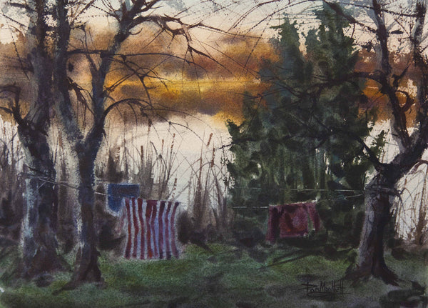 End of the Season by Artist Dan Mondloch Landscape Watercolor MN
