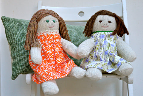 Two SockDolls sitting together, one with green eyes and red hair, one with brown hair and brown eyes | Red Rufus