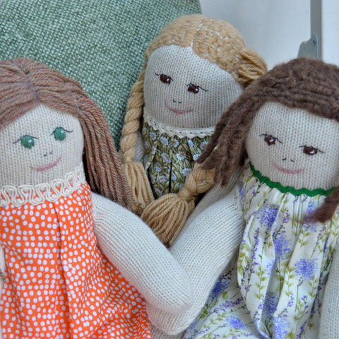 Dolls handmade from socks with hand embroidered faces|Red Rufus