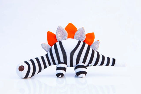 Darcy SockDino, black and white stripes with orange spikes and felt eyes|Red Rufus