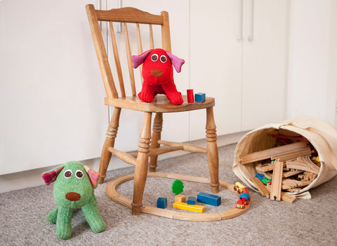 Barney and Boris SockDog Playing with Brio|Red Rufus