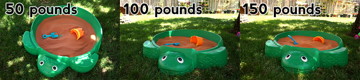 How much a green turtle sandbox holds
