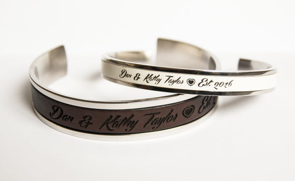 Personalized Matching Couples Bracelets - Secret Message Cuffs