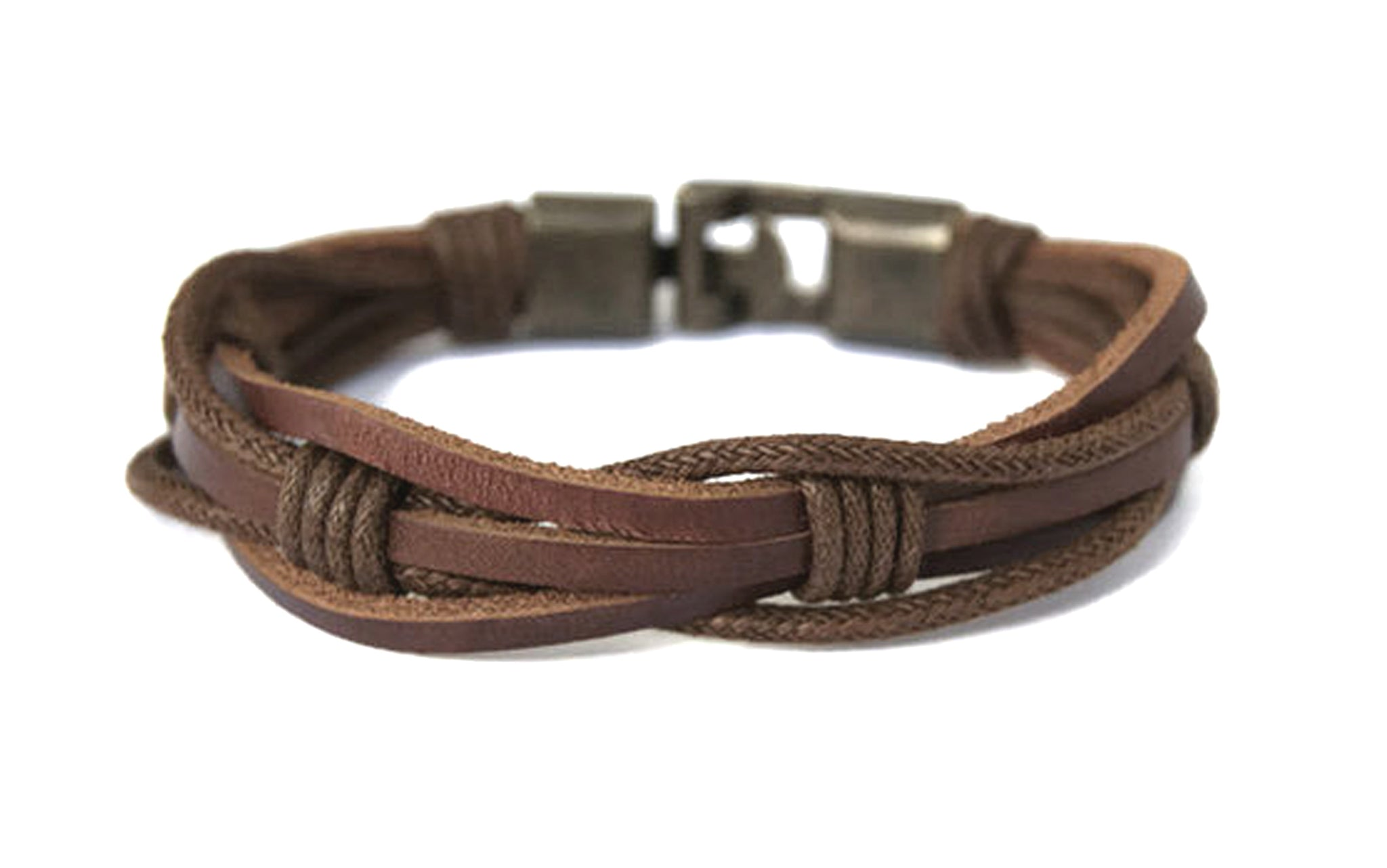 Men's Gift Idea Braided Leather Bracelet Black Rope Rustic