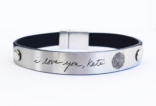 Personalized Signature Handwriting Leather Bracelet