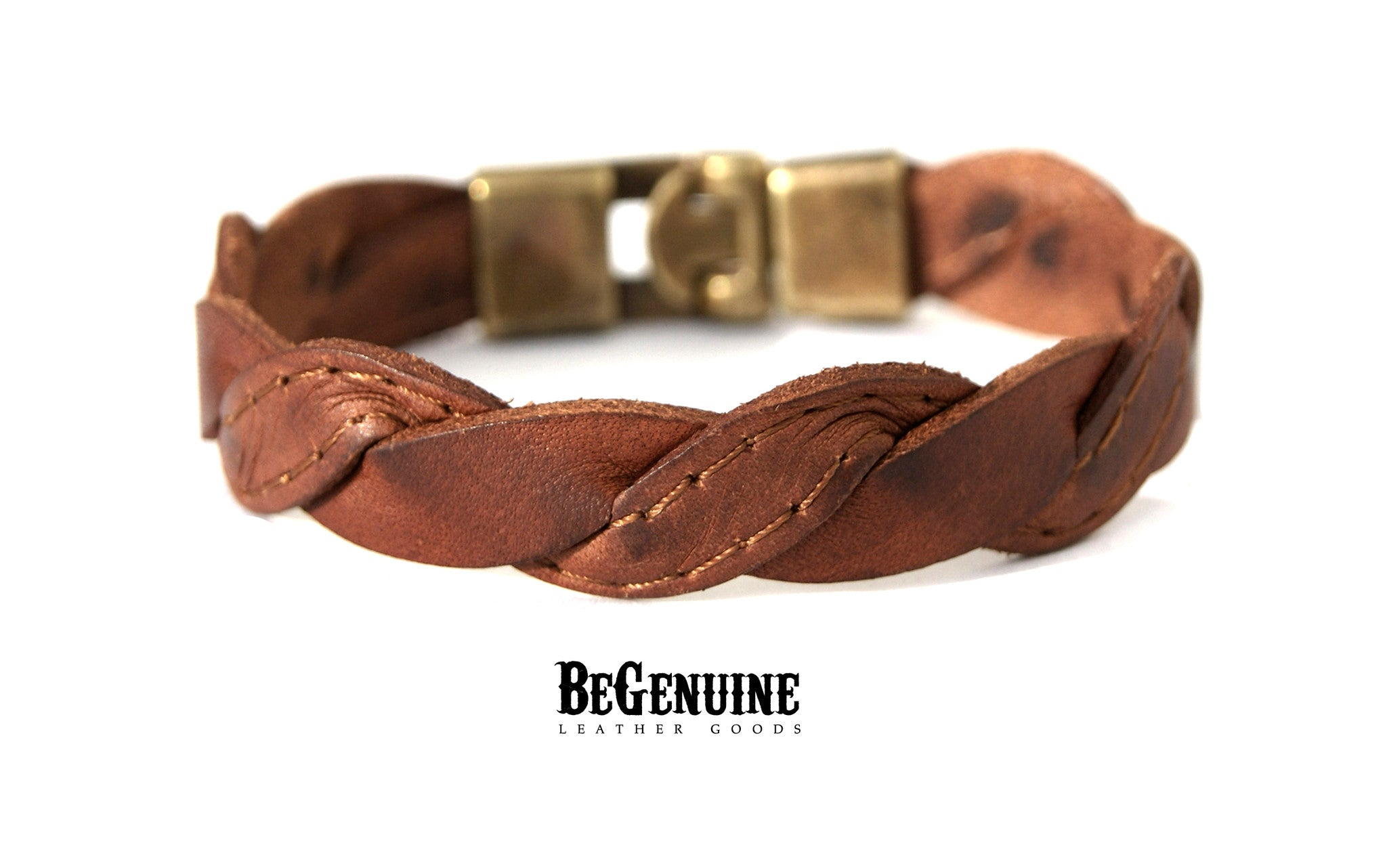 Men Leather Bracelet - Brown Stitched Hipster Style