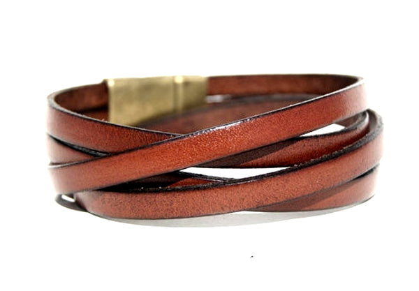 Wrap Leather Bracelet Unisex Jewelry - Saddle Brown or Charcoal Black