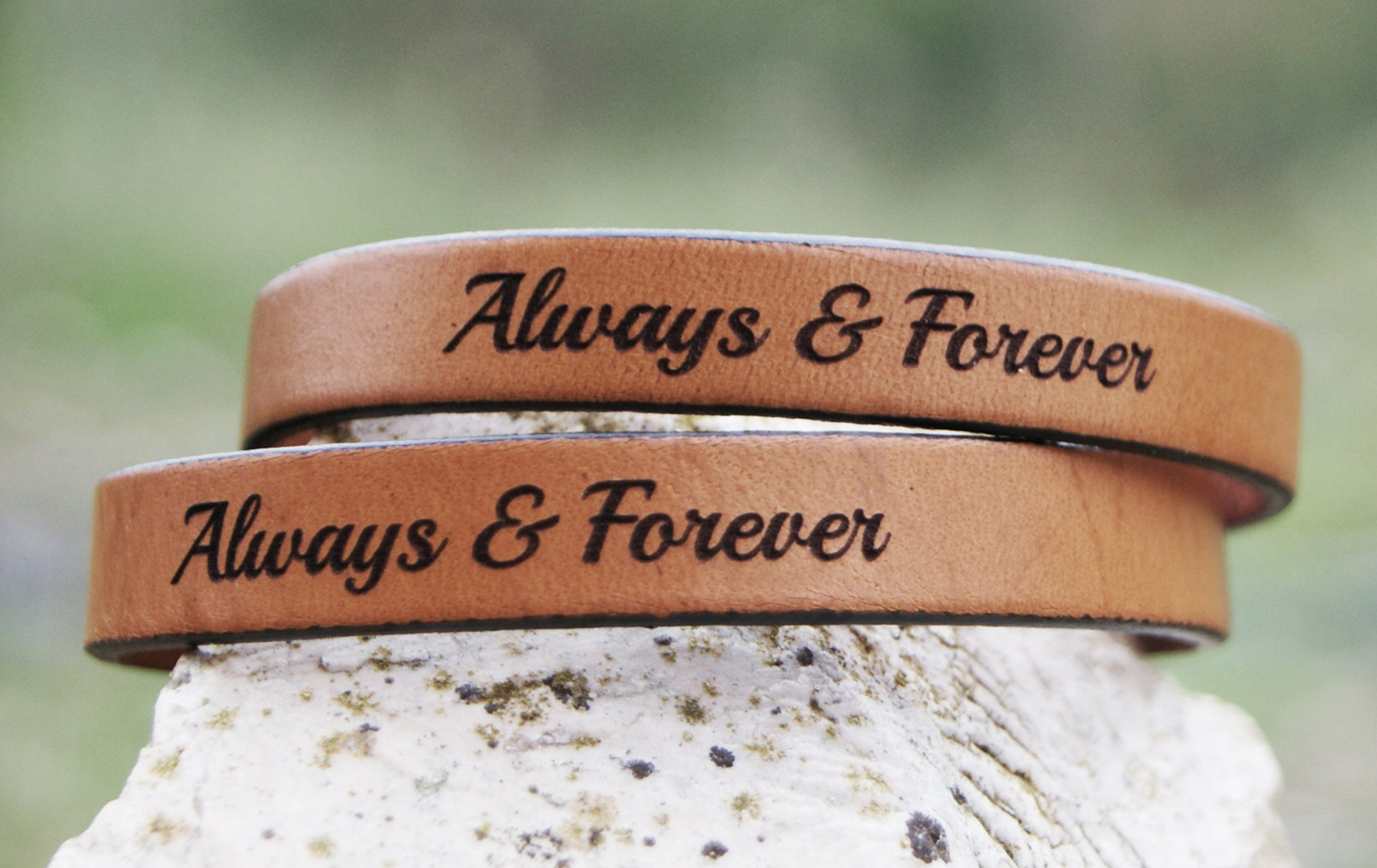 3b693915e5043 Adjustable Matching Leather Bracelets for Couple Custom Personalized Gift -  Set of 2