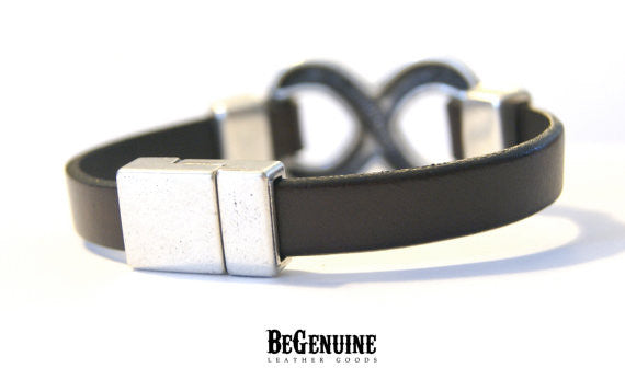 Infinity Leather Bracelet for Men Gift For Husband