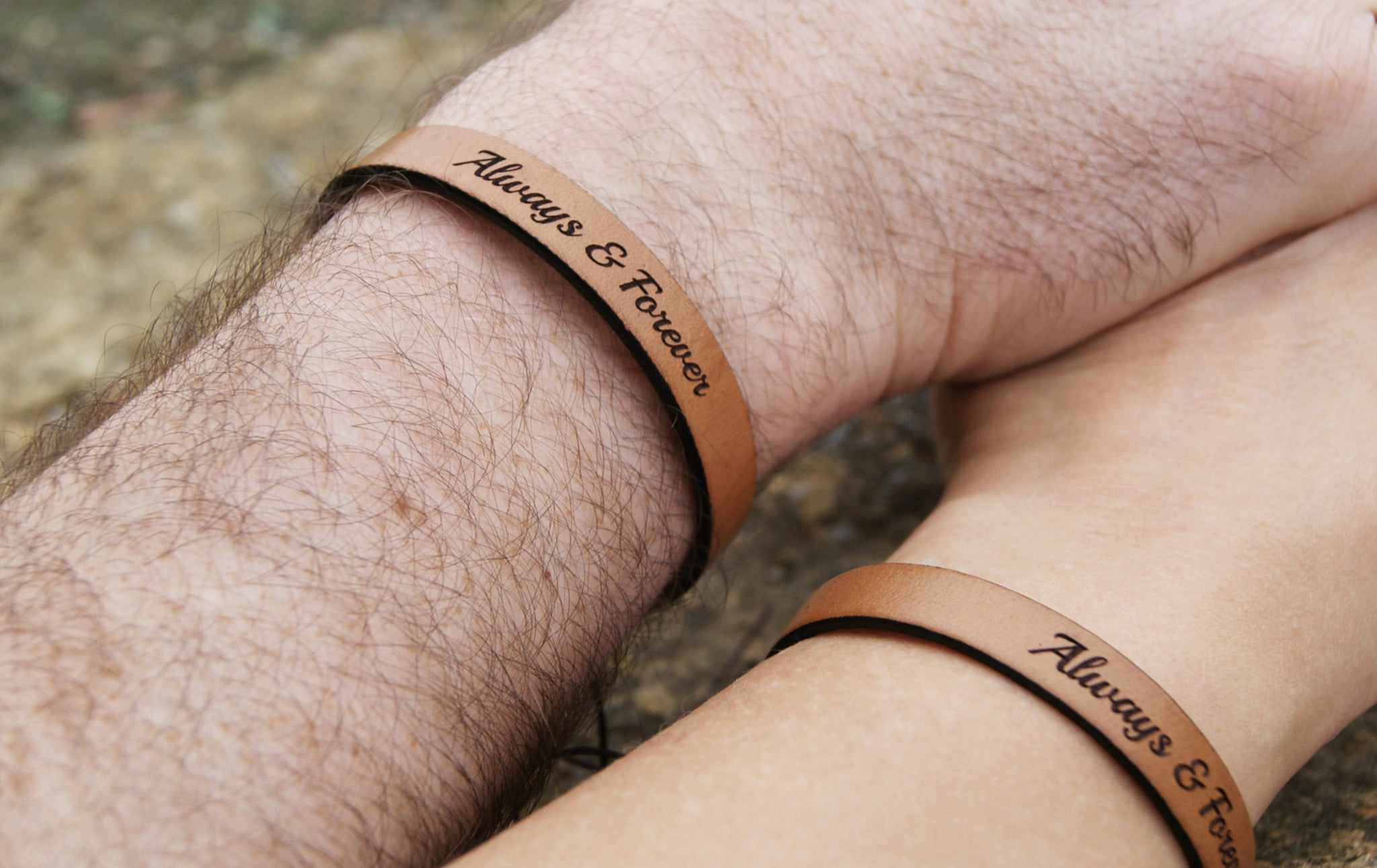 always and forever matching leather bracelets for couple