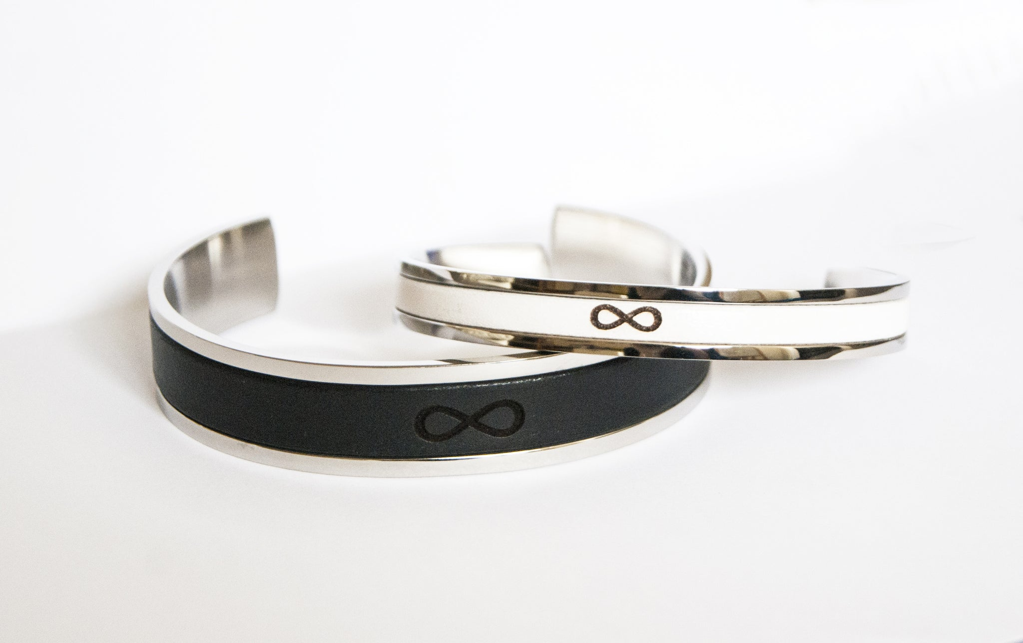 Couples Matching Infinity Leather Bracelets Personalized Couples