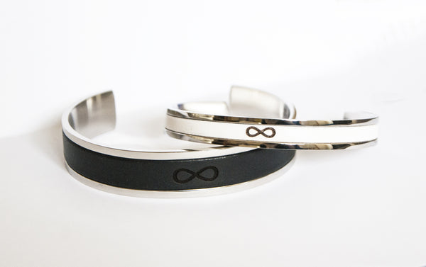 Couples Matching Infinity Leather Bracelets Personalized Couples Jewelry