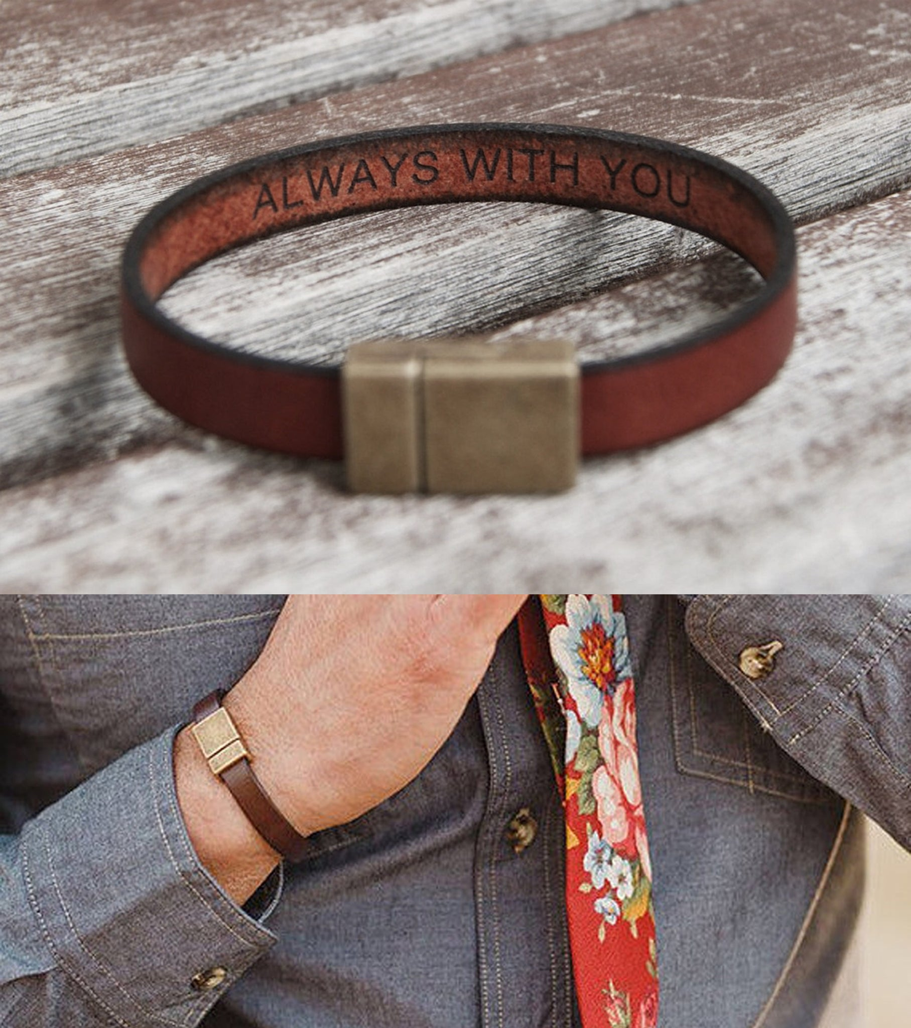 personalized leather bracelet for men boyfriend