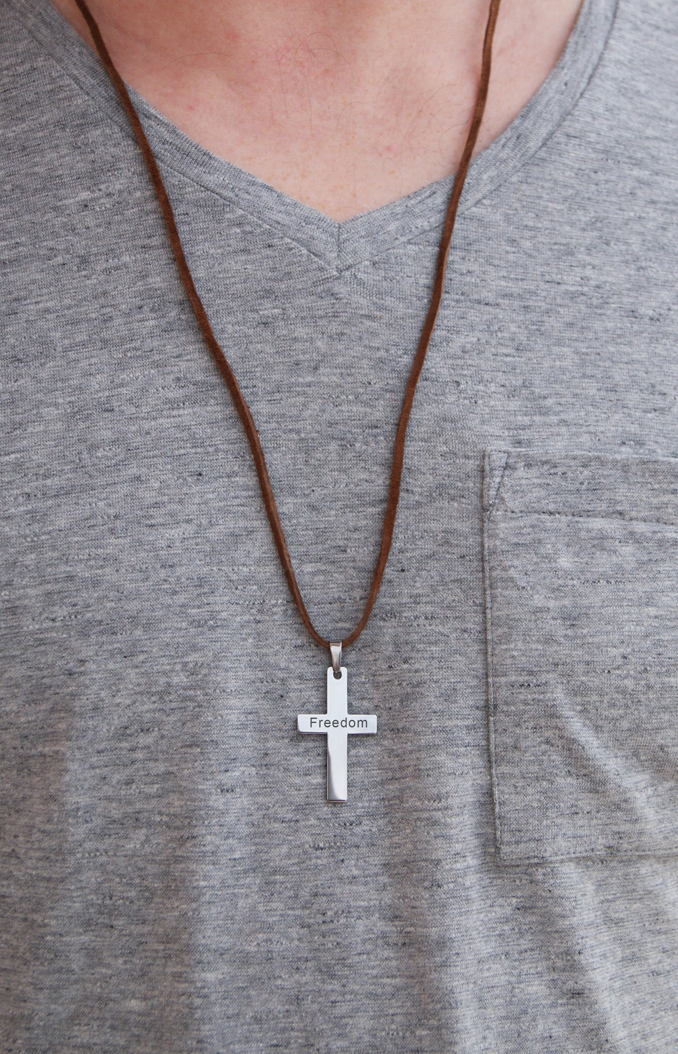 Cross Leather Necklace For Men Personalized