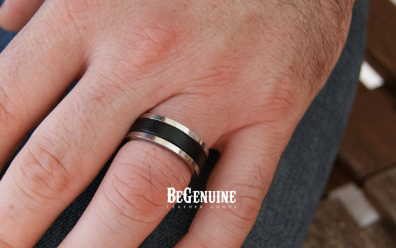 Mens Black Ring - Stainless Steel with Genuine Leather Inlay