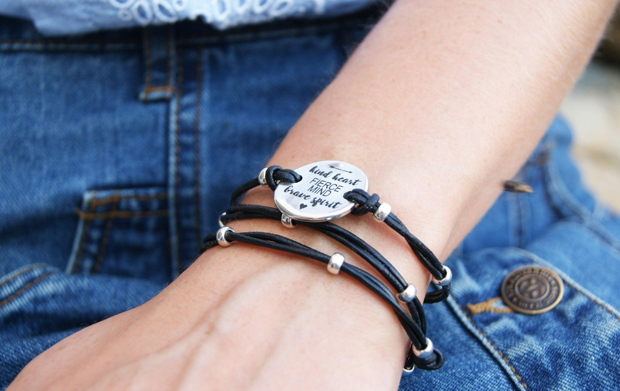 Kindness Bracelet for Women Fierce Mind Brave Spirit Leather Wrap
