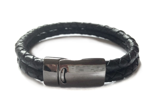 Mens Bracelet - leather bracelet - Gift for dad - Fathers day bracelet - Double Braided Black Leather Bangle - Leather Wristband