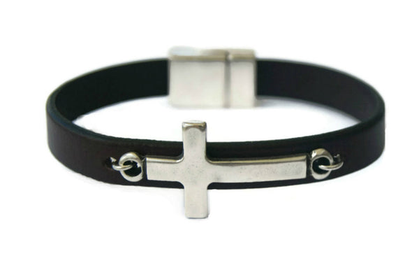 Christian Leather Bracelet with Silver Sideways Cross Handmade
