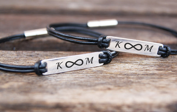Matching Infinity and Initial Leather Bracelets for Couples, Set of 2 with Custom Engraving
