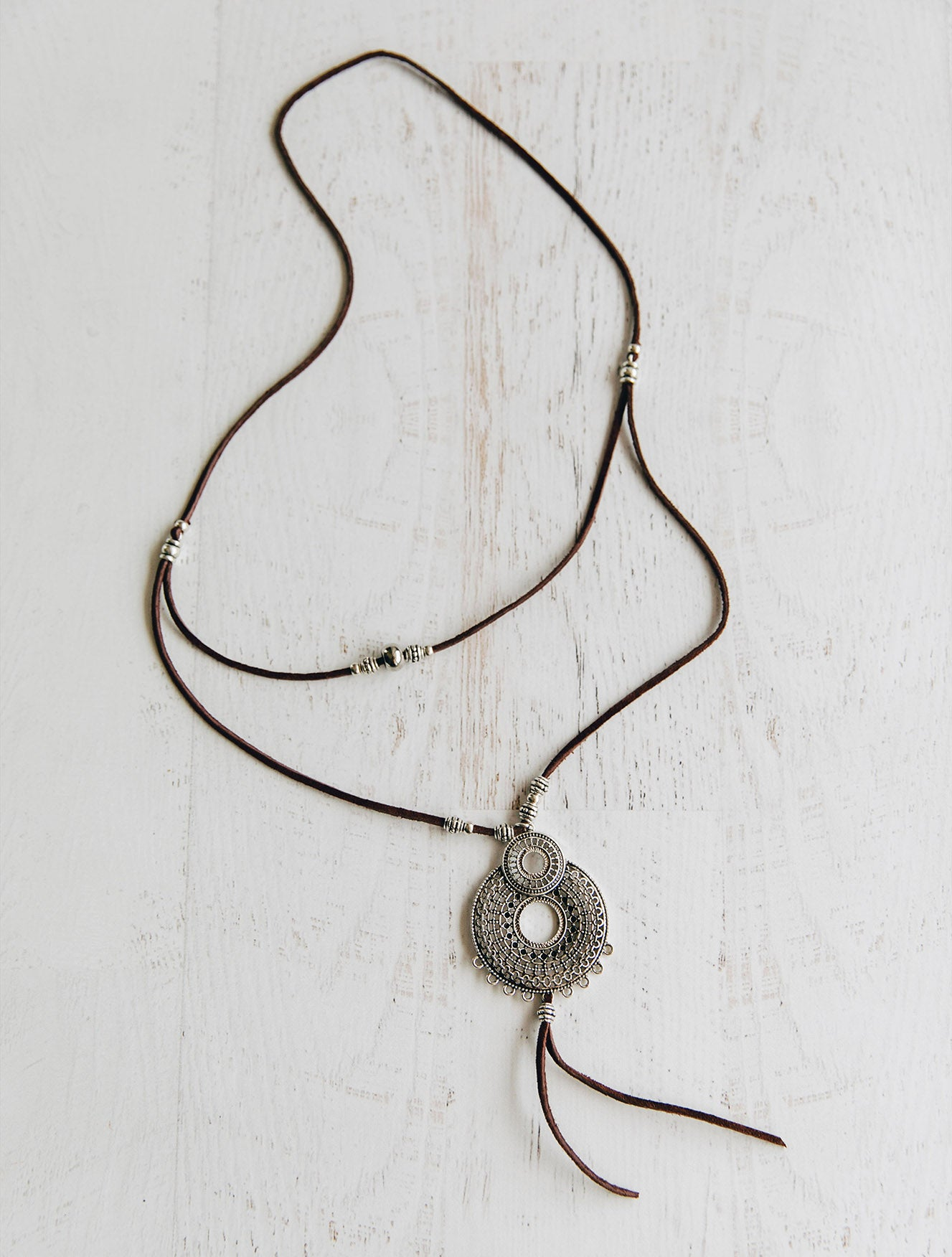 Layered and Long Boho Leather Necklace for Women Handmade