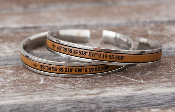 Long distance gift for couples, matching coordinates cuff bracelets - set of 2