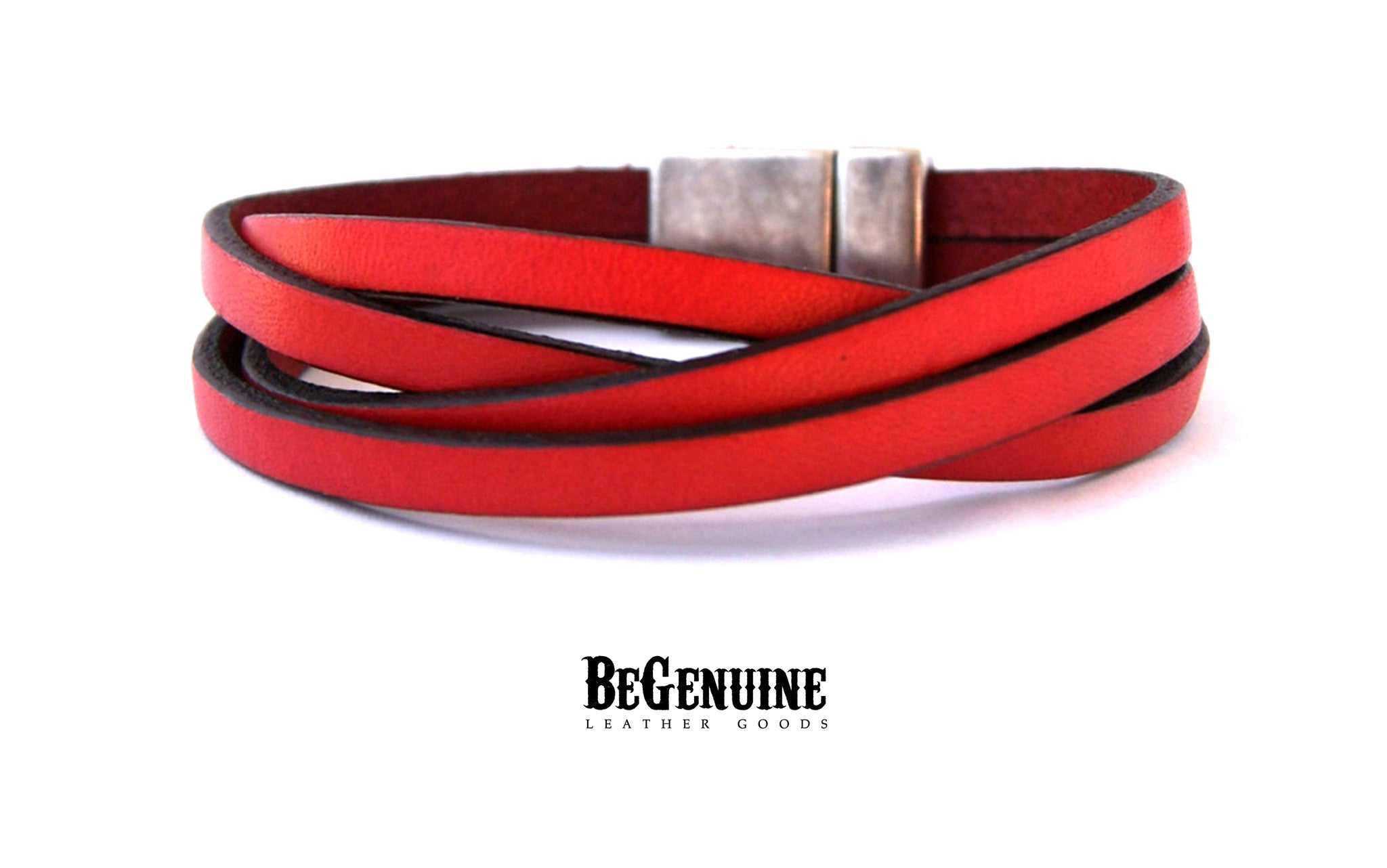 Double Wrap Leather Bracelet Red Wrap Bracelet