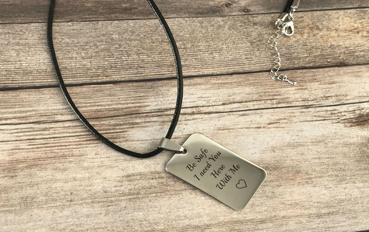 Boyfriend Gift Be Safe Personalized Leather Necklace For Men
