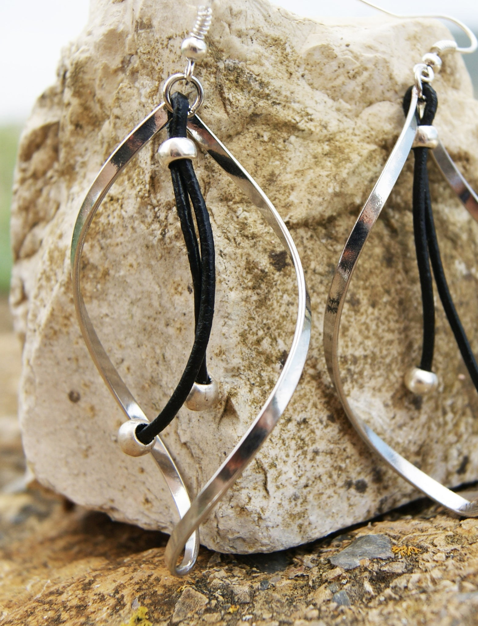 Long Twisted Earrings For Women With Genuine Leather