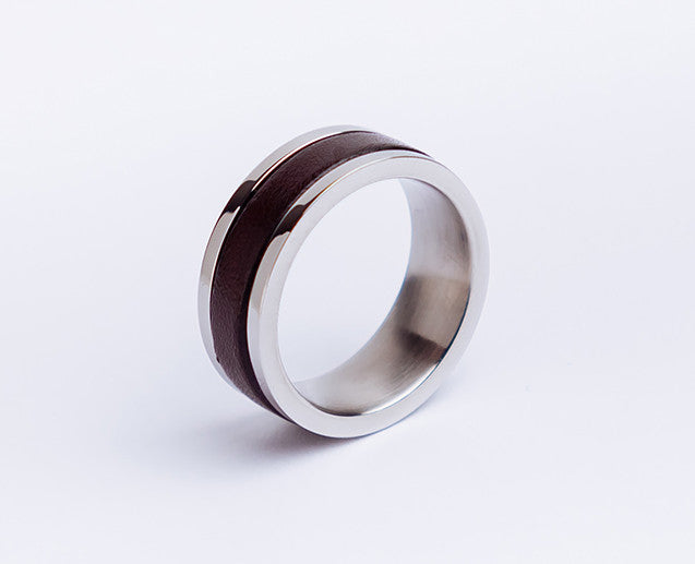 Mens Black or Brown Steel Ring with Leather Inlay - Leather Anniversary Gift
