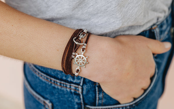 Boho Wrap Leather Bracelet Nautical Jewelry For Women Rustic Charm Wristband