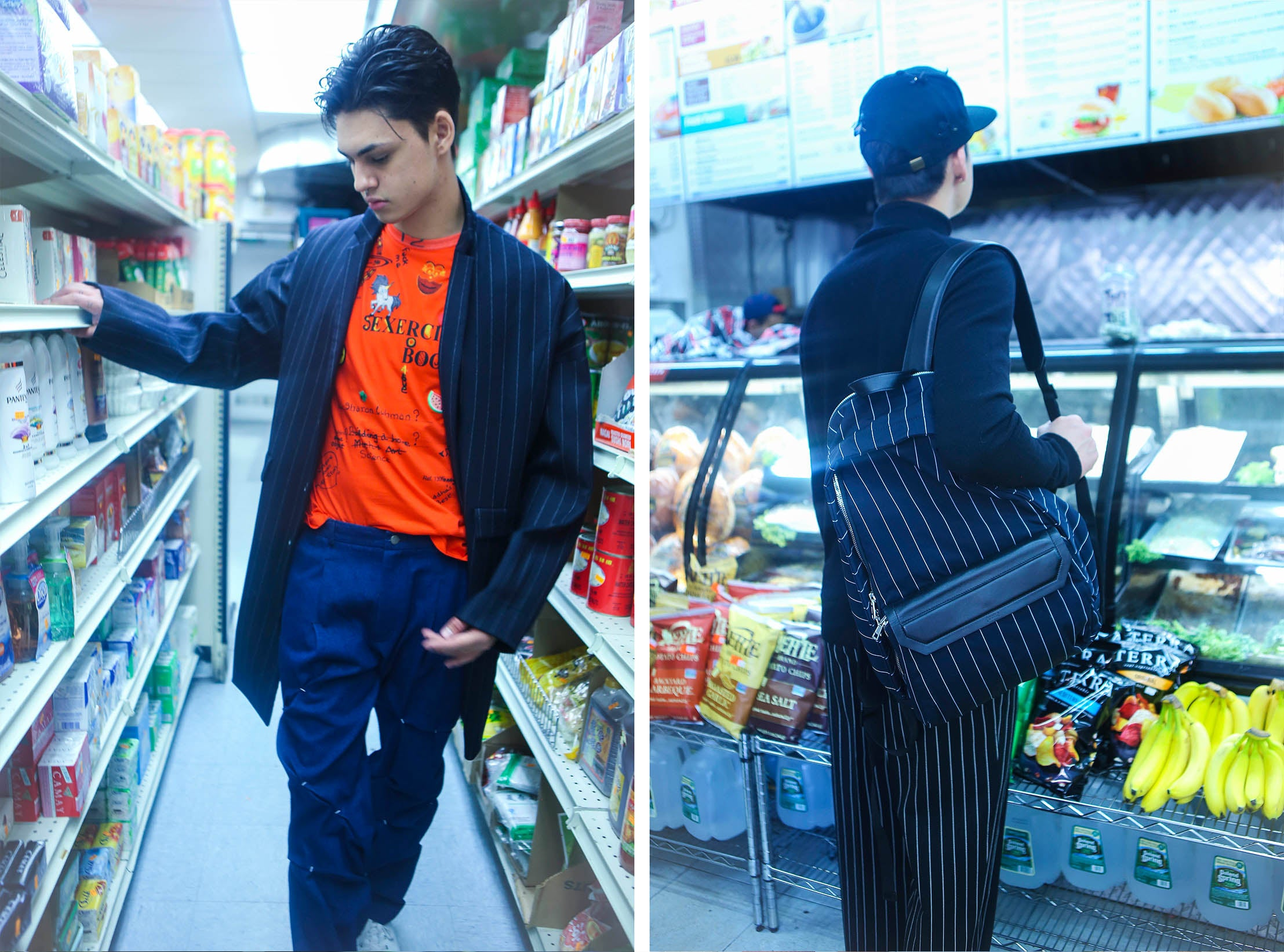 Juun.J pinstripe cocoon coat, pinstripe backpack, genderless sweater, Andreas Kronthaler For Vivienne Westwood sexercise t-shirt, Icosae folded and stitched trousers, Piers Atkinson crystal bugs cap, Marni striped trouser