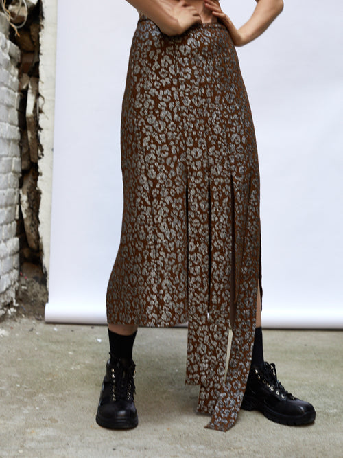 Barbara Bologna Brown Leopard Cutting Skirt