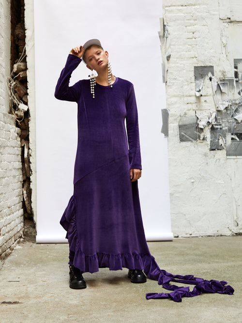 Barbara Bologna I'm A Star Purple Velour Hoodie Dress