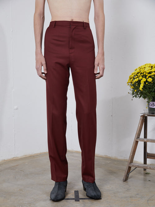 Chin Mens Burgundy Mid-Rise Trousers