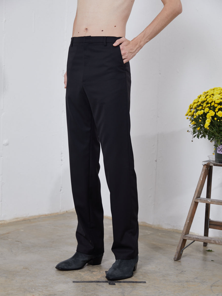 Chin Mens Black Mid-Rise Trousers