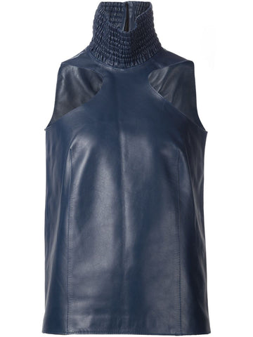 Ribbed Leather Neck Top