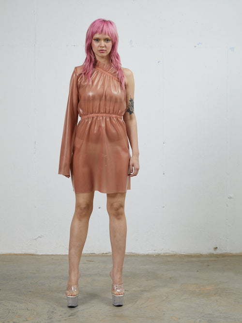 Neith Nyer One Shoulder Latex Dress