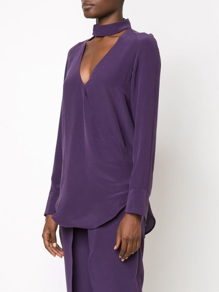 STRATEAS CARLUCCI  Plum Band Crossover Blouse - 3